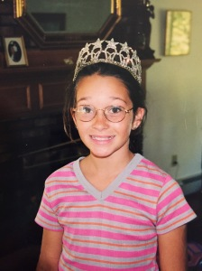 12 year old me wearing the crown of a Miss Maine.